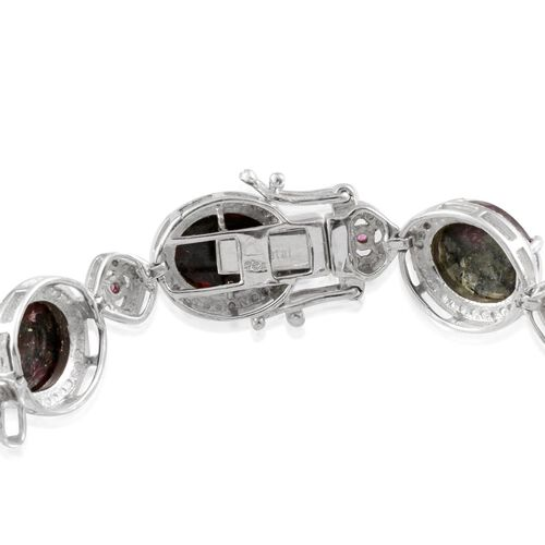 Natural Russian Eudialyte (Ovl), Rhodolite Garnet and Diamond Bracelet in Platinum Overlay Sterling Silver (Size 7.5) 25.550 Ct.
