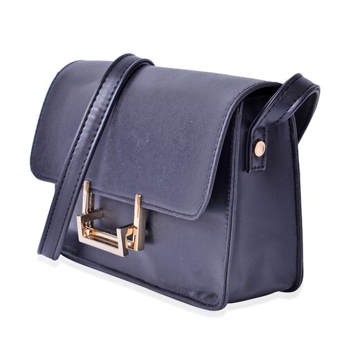 Black Colour Crossbody Bag With Shoulder Strap (Size 20.5x15x6 Cm)