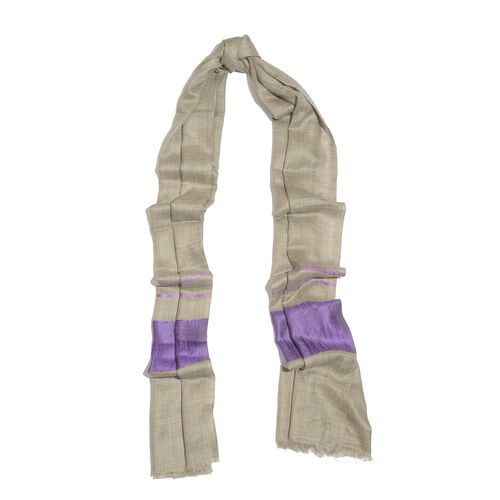 100% Cashmere Wool Lilac and White Colour Shawl (Size 200x70 Cm)