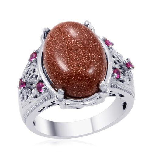 Designer Collection Red Goldstone (Ovl 10.50 Ct), Simulated Ruby Ring in Platinum Bond 10.800 Ct.