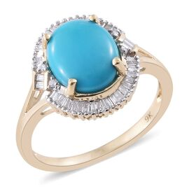 9K Y Gold AAA Arizona Sleeping Beauty Turquoise (Ovl 3.00 Ct), Diamond Ring 3.250 Ct.