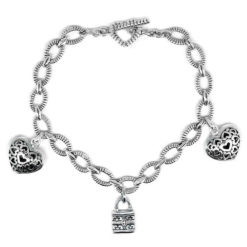 Royal Bali Collection Sterling Silver Heart and Lock Charm Bracelet (Size 7.5), Silver wt 12.01 Gms.