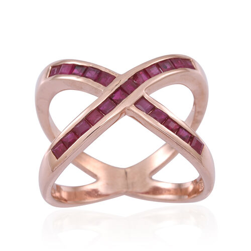 AAA Burmese Ruby (Sqr) Criss Cross Ring in 14K Rose Gold Overlay Sterling Silver 1.500 Ct.
