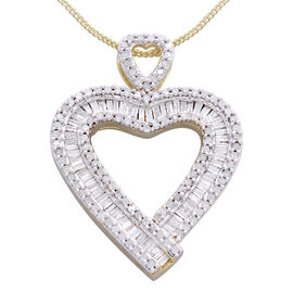 Diamond (Bgt) Heart Pendant With Chain in 14K Gold Overlay Sterling Silver 1.000 Ct.