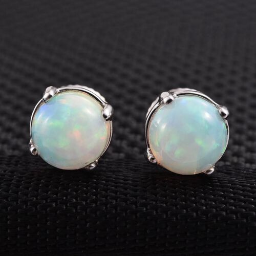 RHAPSODY 950 Platinum 1.40 Carat Ethiopian Welo Opal Round Solitaire Stud Earrings with Screw Back.