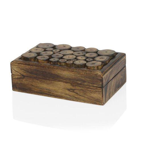 (Option 1) Home Decor - Rectangle Shape Wood Cut Out Design Handmade Box (Size 20x12x5 Cm)