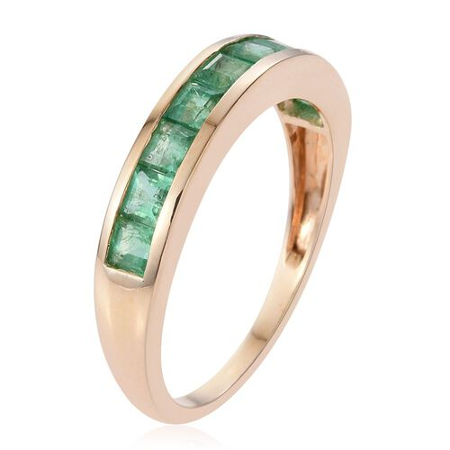 9K Y Gold Kagem Zambian Emerald (Sqr) Half Eternity Band Ring 1.250 Ct.