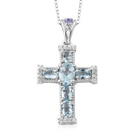 Easter Special-Espirito Santo Aquamarine (Ovl), Natural Cambodian Zircon and Tanzanite Cross Pendant with Chain in Platinum Overlay Sterling Silver 1.500 Ct.
