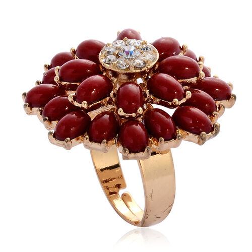 AAA White Austrian Crystal and Simulated Red Stone Bangle (Size 7.50) and Cluster Ring in Gold Tone
