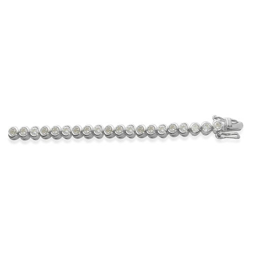 ELANZA AAA Simulated Diamond (Rnd) Bracelet in Rhodium Plated Sterling Silver (Size 8), Silver wt 9.00 Gms.