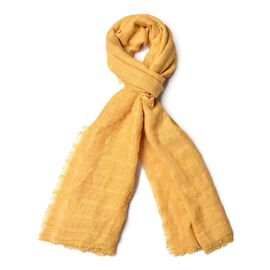 Yellow Colour Stripes Pattern Scarf with Fringes (Size 184X93 Cm)