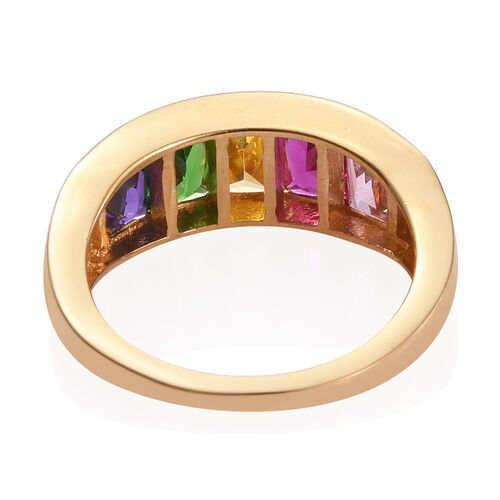 AAA Simulated Citrine (Bgt), Simulated Pink Sapphire, Simulated Tanzanite, Simulated Emerald and Simulated Ruby Ring in ION Plated 18K Yellow Gold Bond