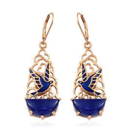 GP Lapis Lazuli, Kanchanaburi Blue Sapphire Bird Hoop Earrings in Enameled and 14K Gold Overlay Sterling Silver 12.250 Ct. Silver wt 10.00 Gms.