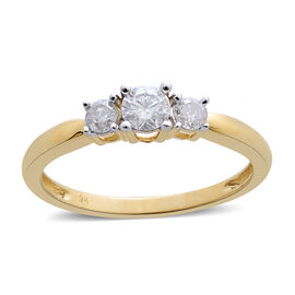 9K Yellow Gold SGL Certified Diamond (Rnd) (I3/ G-H) 3 Stone Ring 0.500 Ct.