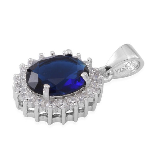 (Option 3) ELANZA AAA Simulated Ceylon Sapphire (Ovl), Simulated White Diamond Pendant and Stud Earrings (with Push Back) in Rhodium Plated Sterling Silver