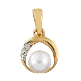 Fresh Water Pearl (6mm) and Diamond Pendant in Gold Plated Silver