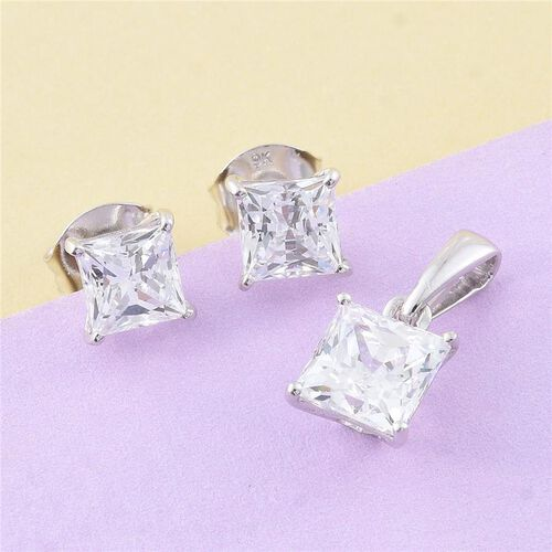 J Francis - 9K W Gold (Princess Cut) Solitaire Pendant and Stud Earrings (with Push Back) Made with SWAROVSKI ZIRCONIA