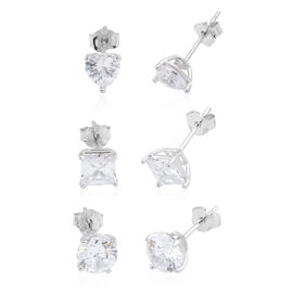 Set of 3- ELANZA AAA Simulated Diamond (Hrt, Rnd and Sqr) Stud Earrings (with Push Back) in Rhodium Plated Sterling Silver. Silver wt. 3.00 Gms.