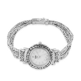 Bali Collection - EON 1962 Swiss Movement Diamond Studded MOP Dial 3ATM Water Resistant Bracelet Watch (Size 8) in Sterling Silver, Metal wt 36.00 Gms.