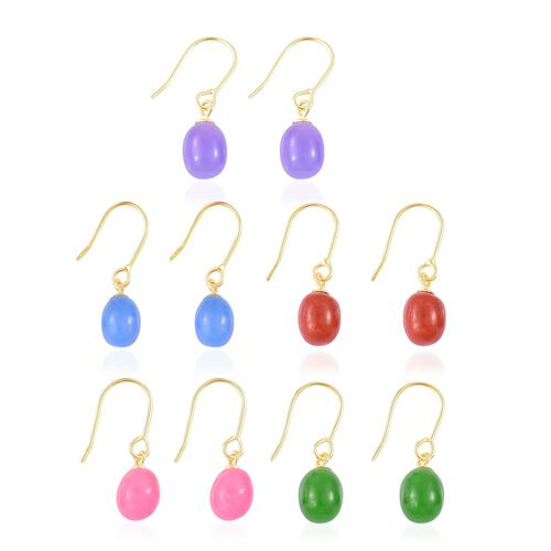 One Time Deal-Set of 5 Purple, Green, Red, Blue and Pink Jade Hook Earrings in Yellow Gold Overlay Sterling Silver 40.390 Ct.