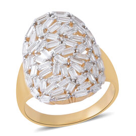ELANZA AAA Simulated White Diamond (Bgt) Ring in Yellow Gold Overlay Sterling Silver, Silver wt 5.25 Gms.