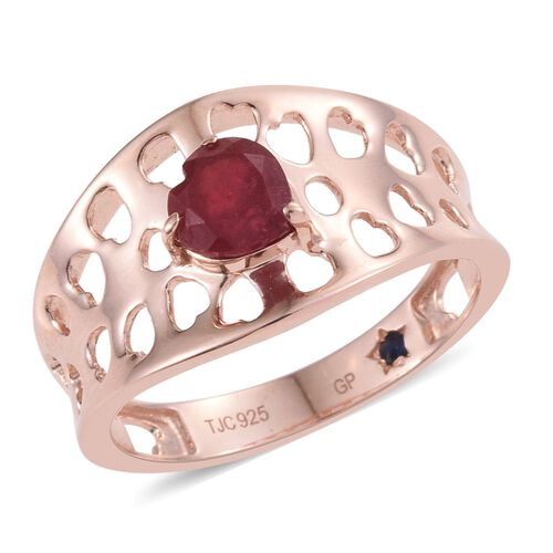 GP African Ruby (Hrt), Kanchanaburi Blue Sapphire Ring in Rose Gold Overlay Sterling Silver 1.250 Ct.