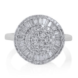 New York Close Out Deal 9K W Gold Diamond (Rnd) (I1-I2 and G-H) Ballerina Ring 1.000 Ct.