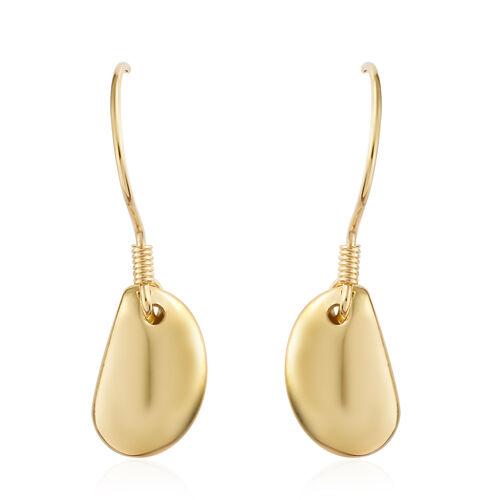 14K Gold Overlay Sterling Silver Pebble Hook Earrings, Silver wt. 3.17 Gms.