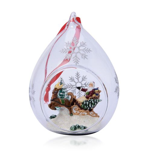 Home Decor Set of 2 - Snowflake Glass Ornament with Santa and Reindeer inside (Size (Size 11x7 Cm)