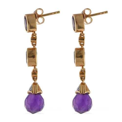 GP Amethyst, White Topaz and Kanchanaburi Blue Sapphire Drop Earrings (with Push Back) in 14K Gold Overlay Sterling Silver 9.750 Ct.