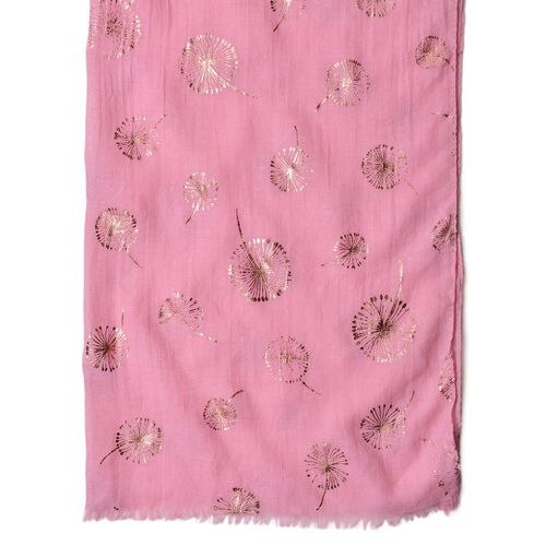 Golden Dandelion Pattern Pink Colour Scarf with Fringes (Size 180X70 Cm)