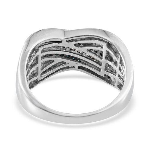 Blue Diamond (Rnd), White Diamond Criss Cross Ring in Platinum Overlay Sterling Silver 1.000 Ct.