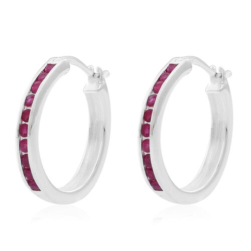 AAA Burmese Ruby (Rnd) Earrings in Rhodium Plated Sterling Silver 1.000 Ct.