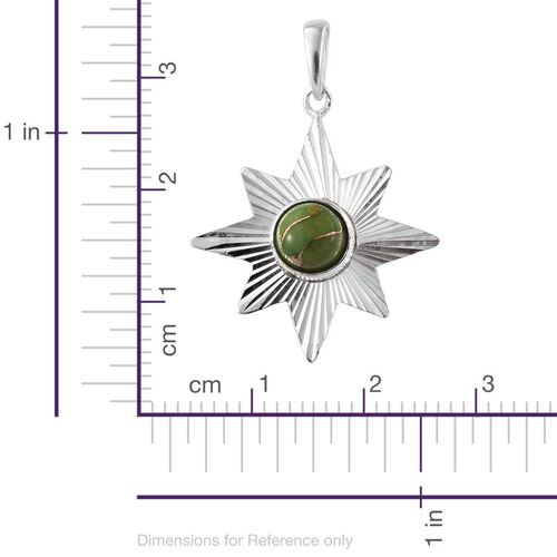 Artisan Crafted Arizona Green Turquoise (Rnd) Star Pendant in Sterling Silver.