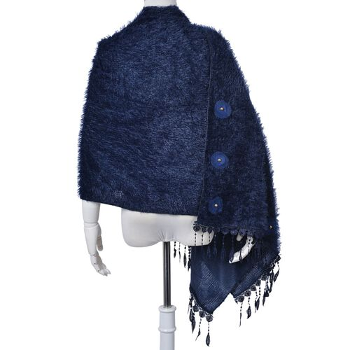 Royal Blue Colour Scarf with Fringes (Size 200x60 Cm)