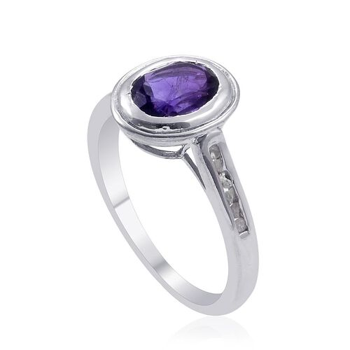 Zambian Amethyst (Ovl 1.00 Ct), Diamond Ring in Platinum Overlay Sterling Silver 1.100 Ct.