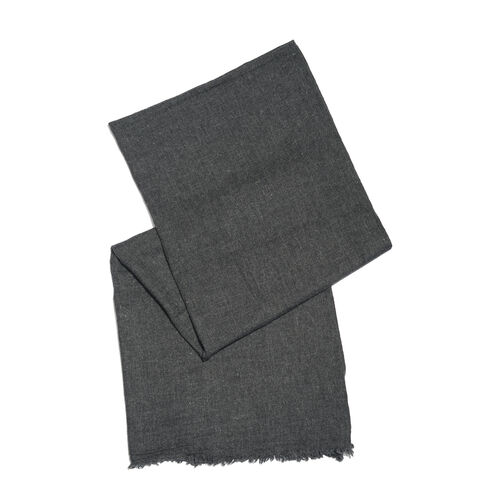 Italian Designer Cashmere Wool Blend Dark Grey Scarf (Size 200X65 Cm)