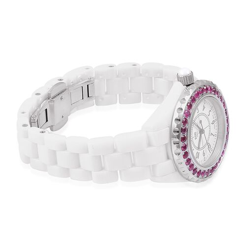 EON 1962 Swiss Movement with African Ruby (3.11 Ct) White HighTech Ceramic Watch (No of Stones 31 Pcs)