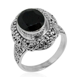 Royal Bali Collection Boi Ploi Black Spinel (Ovl) Solitaire Ring in Sterling Silver 5.766 Ct. Sterling Wt. 7.20 Grams