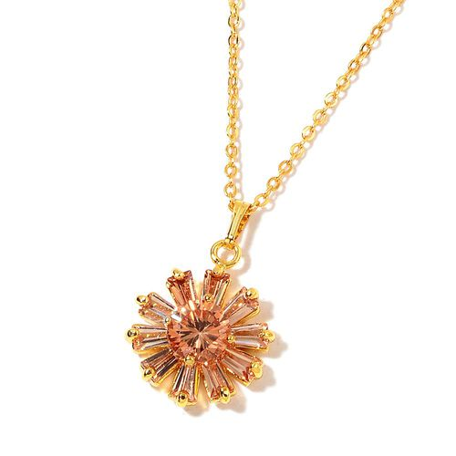 AAA Simulated Champagne Diamond Flower Pendant with Chain (Size 22) and Stud Earrings in Gold Tone