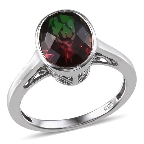 Tourmaline Colour Quartz (Ovl) Solitaire Ring in Platinum Overlay Sterling Silver 3.750 Ct.