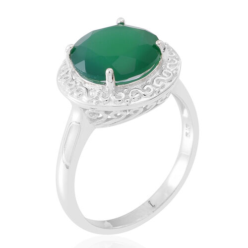 Verde Onyx (Rnd) Solitaire Ring in Sterling Silver 5.000 Ct.