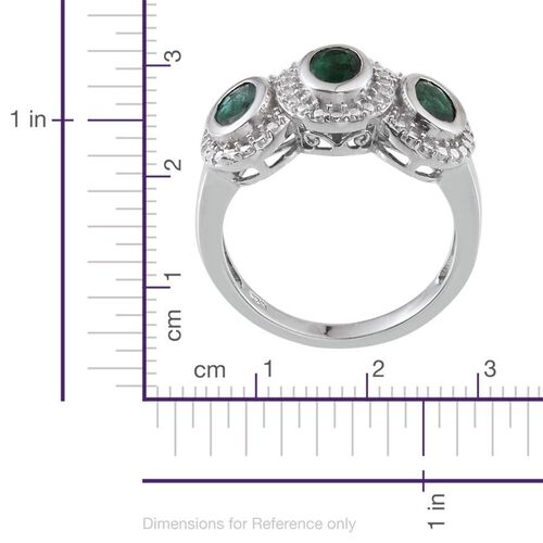Kagem Zambian Emerald (Ovl) Trilogy Ring in Platinum Overlay Sterling Silver 1.250 Ct.