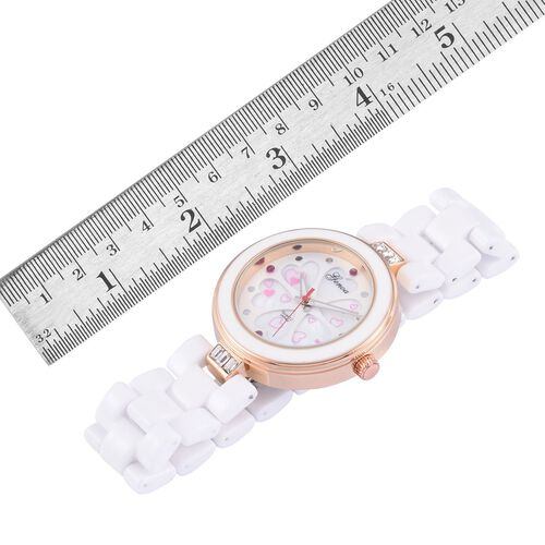 Burmese Ruby studded GENOA White Ceramic Japenese Movement White MOP Floral Dial Water Resistant Watch in Rose Gold Tone with Stainless Steel Back and White Austrian Crystal