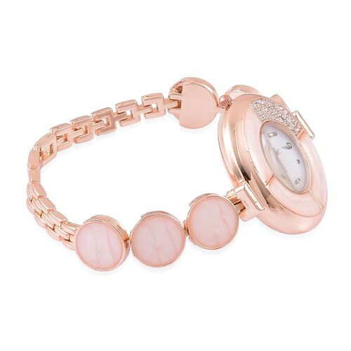 STRADA Japanese Movement White Austrian Crystal Peach Colour Enameled Watch in Rose Gold Tone with Stainless Steel Back