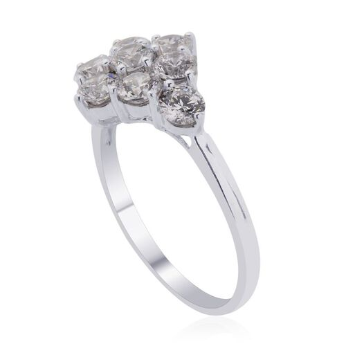 J Francis - Platinum Overlay Sterling Silver (Rnd) Ring Made with SWAROVSKI ZIRCONIA  2.250 Ct.