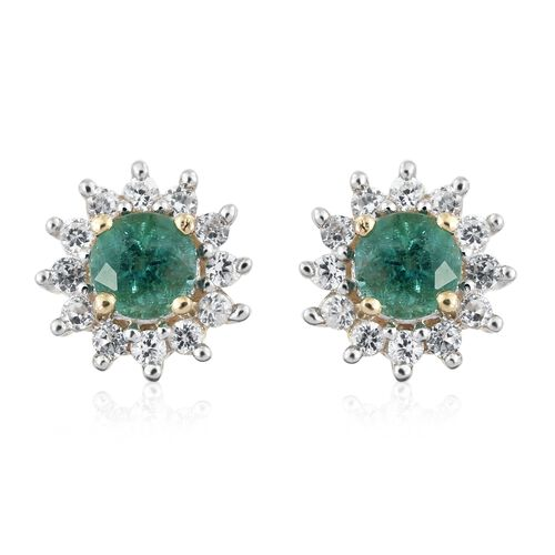 0.80 Ct Kagem Zambian Emerald and Natural Cambodian Zircon Halo Stud Earrings in 9K Gold (with Push Back)