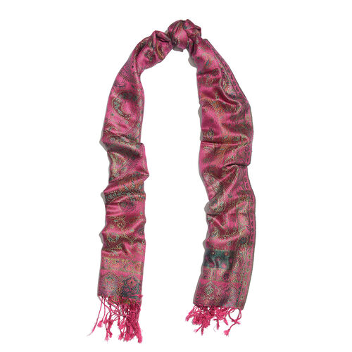 SILK MARK - 100% Superfine Silk Fuchsia, Green and Multi Colour Flower, Leaves and Paisley Pattern Jacquard Jamawar Scarf with Tassels (Size 180x70 Cm) (Weight 125 - 140 Gms)