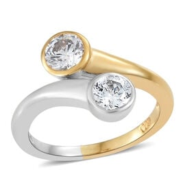 J Francis - Made with SWAROVSKI ZIRCONIA Crossover Ring in Platinum and Gold Plated Silver