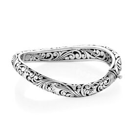 Limited Edition- Designer Inspired Sterling Silver Filigree Bangle (Size 7.5), Silver wt 36.67 Gms.